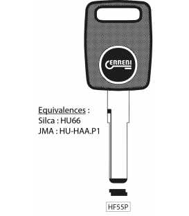 Clé à transpondeur profil type HU66