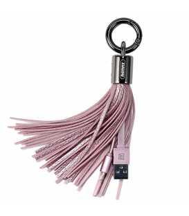 Porte clé chargeur Pompon Rose USB vers LIGHTNING